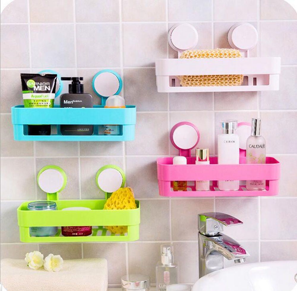 Plastic Shower Basket Shelf Bathroom Wall Organizer Basket With ...