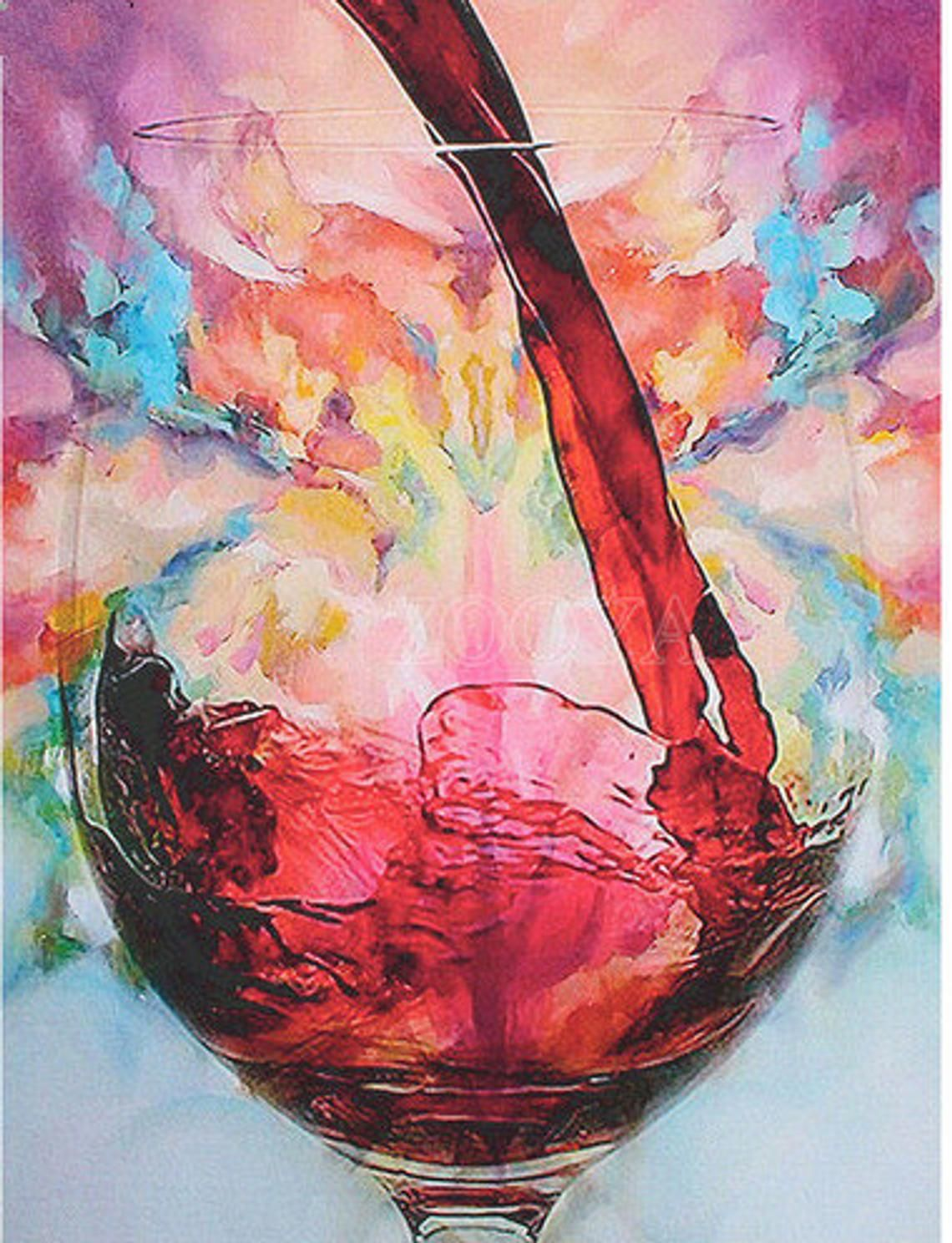 5d Home Diamond Painting Wine Cup Mosaic Diy Cross Stitch Full Etsy Wine Painting Watercolor Wine Art Wine And Canvas