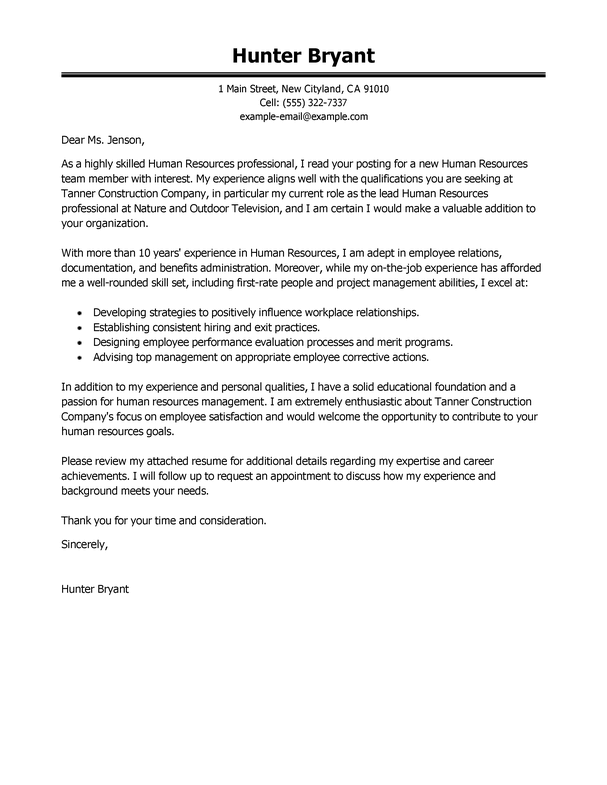 Cover Letter Template Human Resources 1 Entry Level