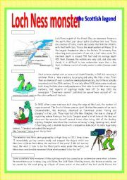 English Worksheets: Loch Ness monster: the Scottish legend | Loch ...