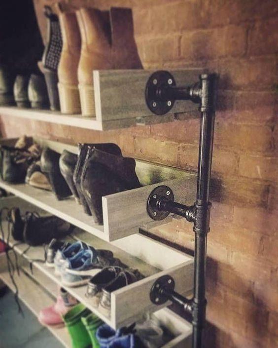 Industrial Shoe Rack, Shoe Storage, Shoe Rack, Shoe Organizer, Entryway Shoe Storage, Closet Shoe Rack, Shoe Stand, JustKnotWood #shoecloset