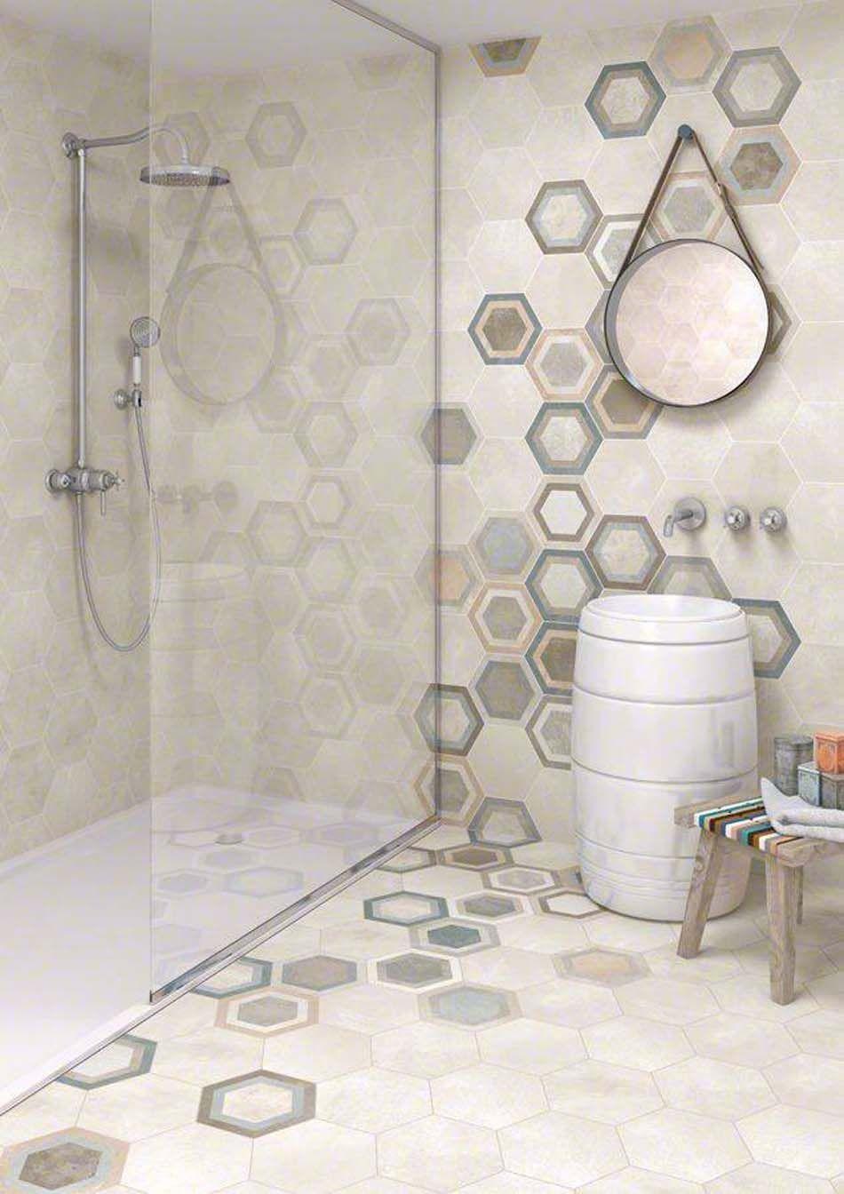 Carrelage design l inspiration g om trique pour la salle de bains walls paper tile etc - Marokkanische bodenfliesen ...