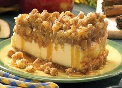 Apple Crisp Cheesecake  Posted on Kari Stoddard Cameron's Facebook Page   Ingredients   1/2 cup graham cracker crumbs  1/4 cup quick-cook...