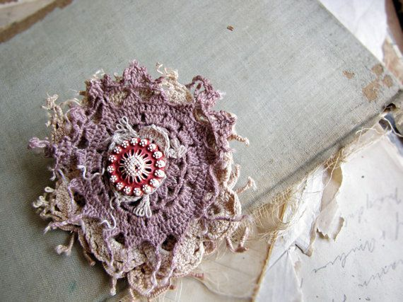 strawberry - salvage doily brooch - hand dyed lace - vintage button