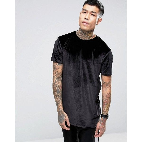 ASOS Longline Velvet T-Shirt In Black ($22) ❤ liked on Polyvore featuring