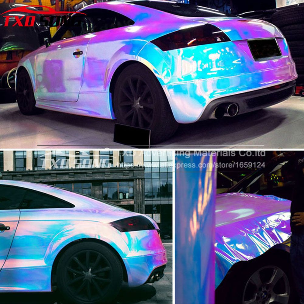 Find more car stickers information about new arrival rainbow holographic chrome film glossy mirror rainbow holographic