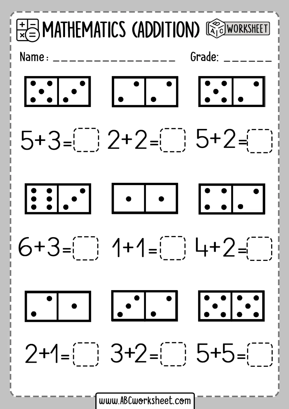 Printable Kindergarten Math Worksheets Domino Addition Ab In 2020 Kindergarten Math Worksheets Addition Kindergarten Addition Worksheets Kindergarten Math Worksheets