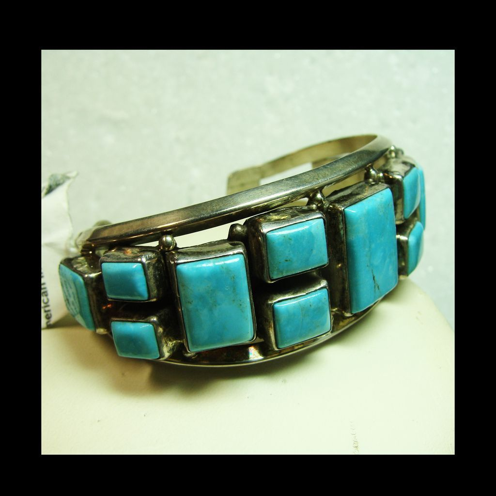 Navajo Sterling Silver Cuff Bracelet with Aqua Blue Turquoise