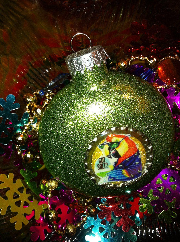 JIMMY BUFFETT Parrot Head Glitter Resin CHRISTMAS Ornament ooak ...