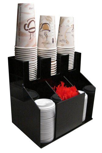 Cup And Lid Holder Dispenser Countertop Organizer 3wx2d Coffee