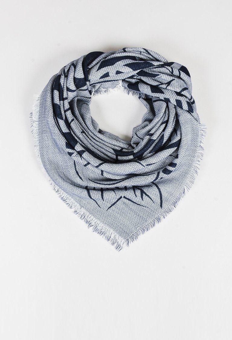 "Chanel Blue & White Floral & 'CC"" Printed Fringe Trim Scarf"
