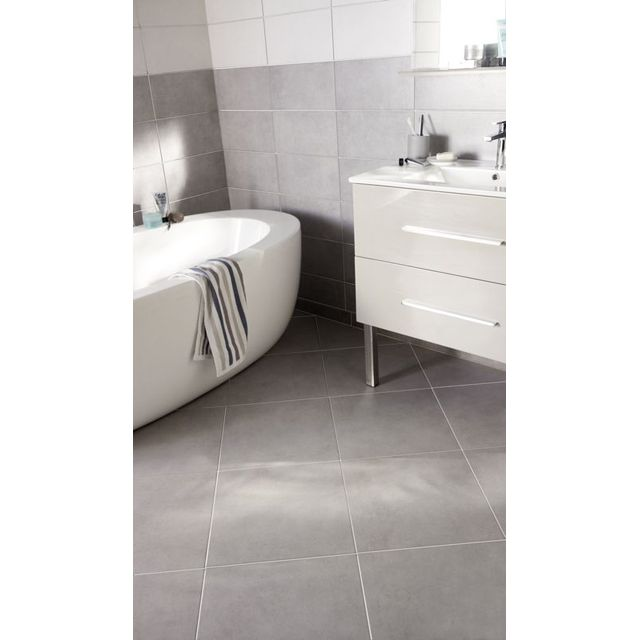 Carrelage gris 43 x 43 cm Cypra - CASTORAMA Cool interiors - salle de bain carrelage gris et blanc
