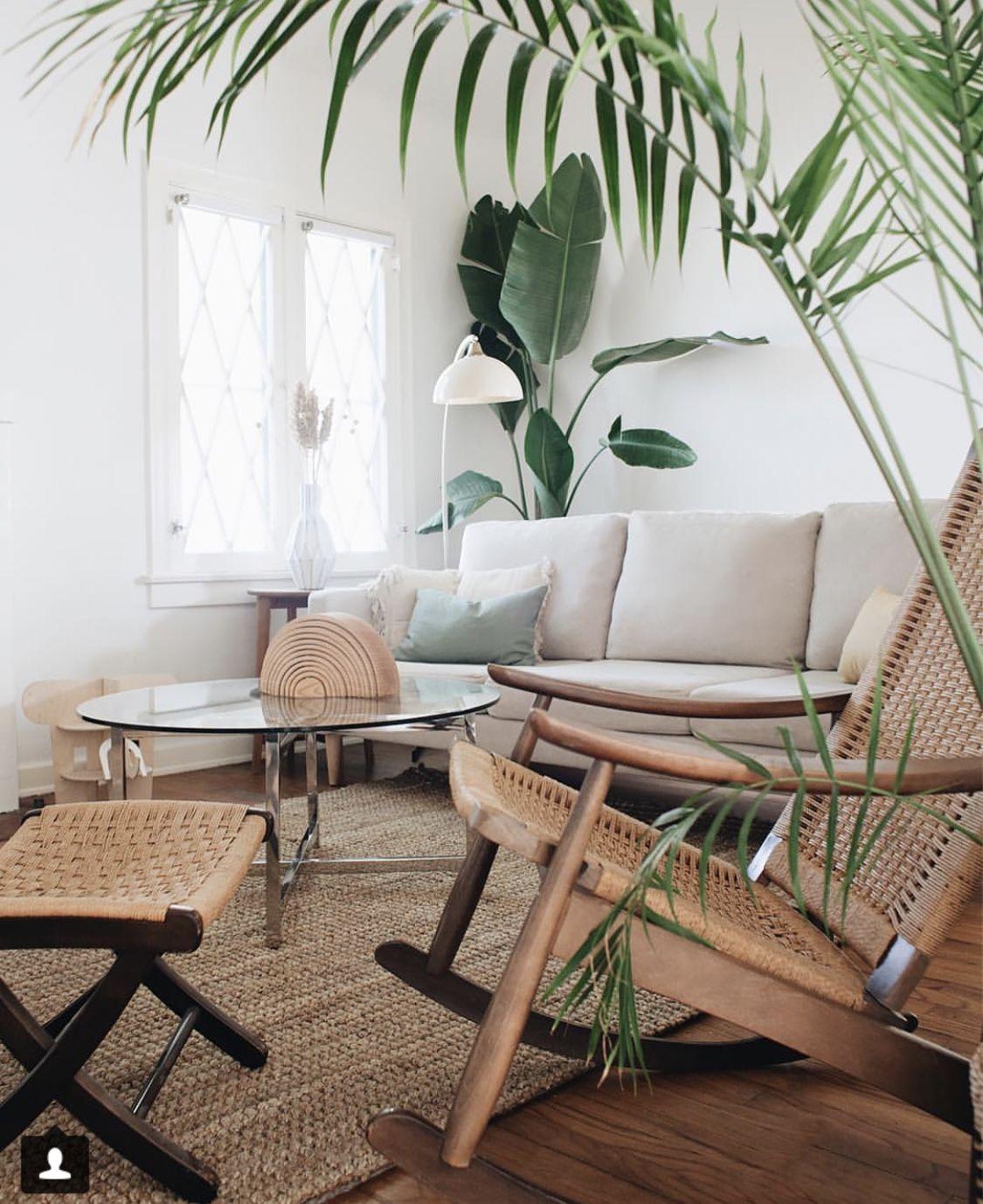 B Love Lounge Rocking Ratan Chair Rug Plants Not Coffee