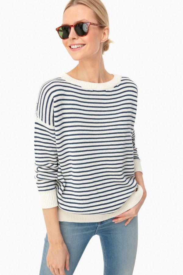 Navy Stripe Organic Carolyn Sweater | Emerson Fry