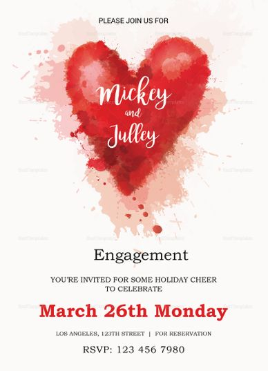 Colorful Engagement Invitation Card Template Invitation Card
