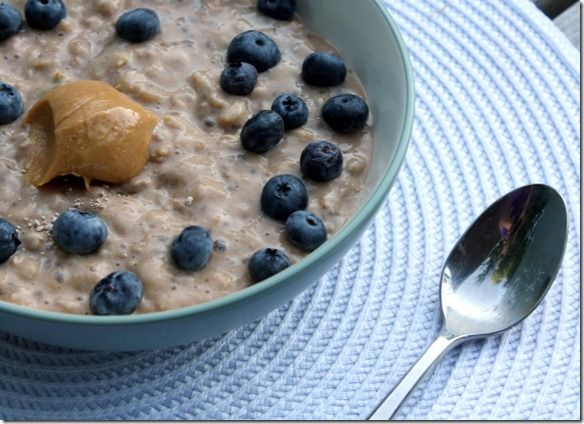 chocolate protein blueberry oatmeal (and from a really great blog with lot's of clean eating recipes!)
