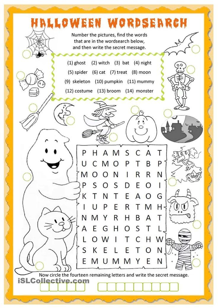 Halloween Wordsearch Worksheet  Free Esl Printable Worksheets