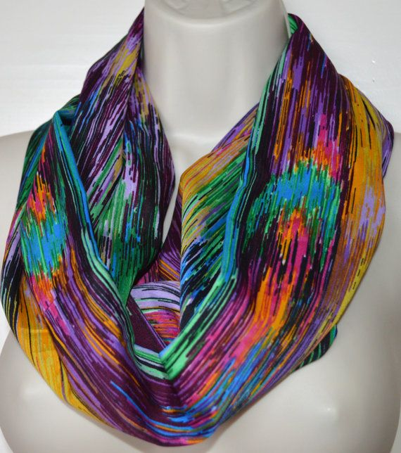 Multicolor striped infinity scarf infinity loop by byJuliasDesigns