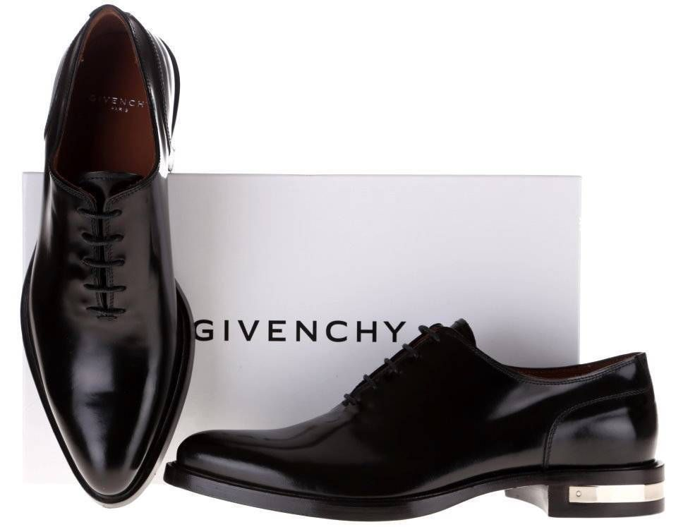 New givenchy men's black leather richelieu metal heels dress oxford shoes  40/7