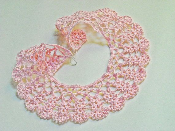 Crochet collar pink lace crocheted necklace Peter Pan by wincsike, $32.00