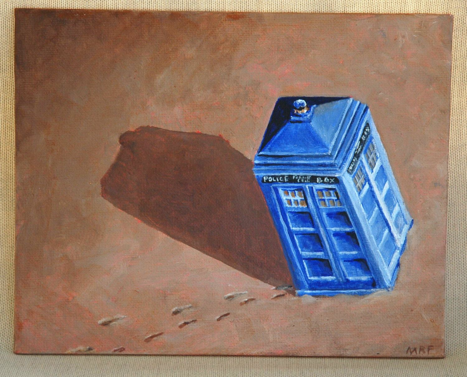 """Parked TARDIS Doctor Who Police Phone Box Original Acrylic Painting 8"""" x 10"""" by dragonbee on Etsy"""