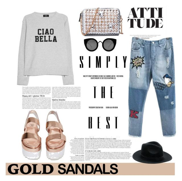 """""""Ciao Bella!"""" by statisticam ❤ liked on Polyvore featuring Anja, MANGO, Elly Clay, Quay, cool, gold, goldsandals and polyvorecontest"""