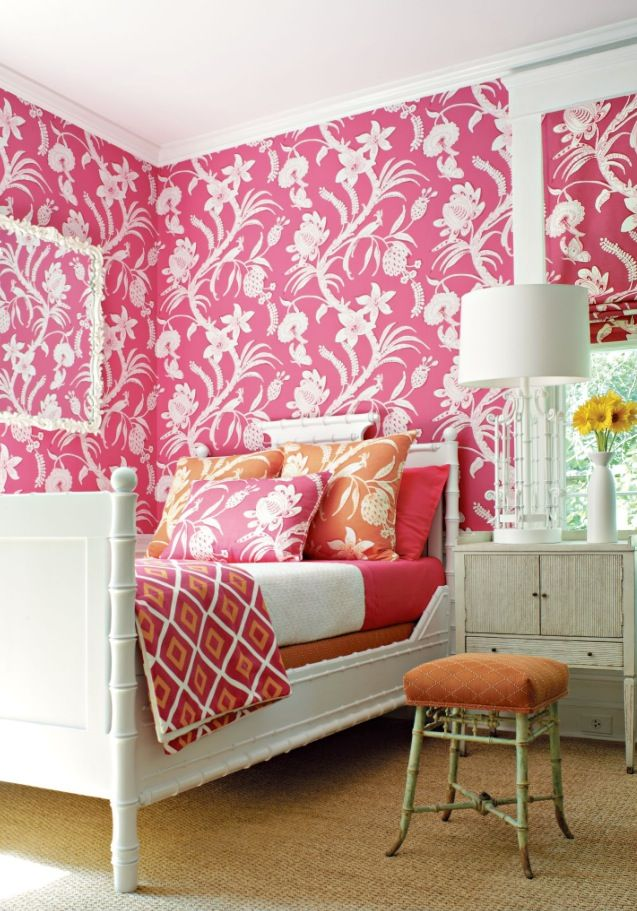 thibault pink wallpaper, orange and pink bedding, white bamboo bed ...