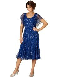 Roamans Womens Plus Size Flutter Sleeve Sequin Dress By Roamans