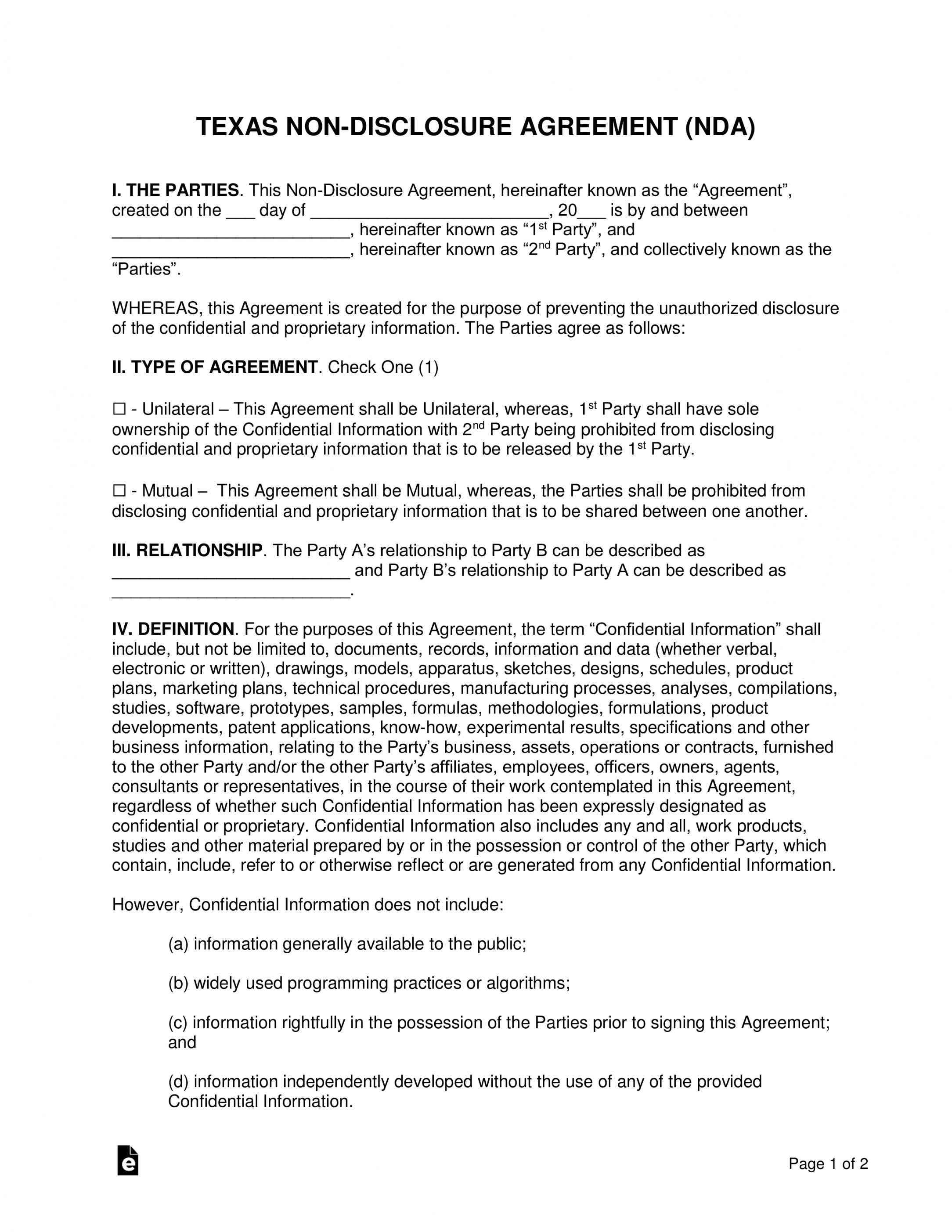 Explore Our Example Of One Way Non Disclosure Agreement Template For Free Non Disclosure Agreement Professional Templates Agreement Simple non disclosure agreement template