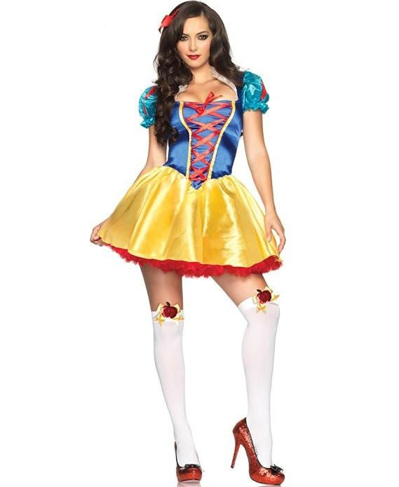 5e8d9b5614 Description  85516 2pc Classic Snow White women s adult costume featuring a  satin mini dress with a blue