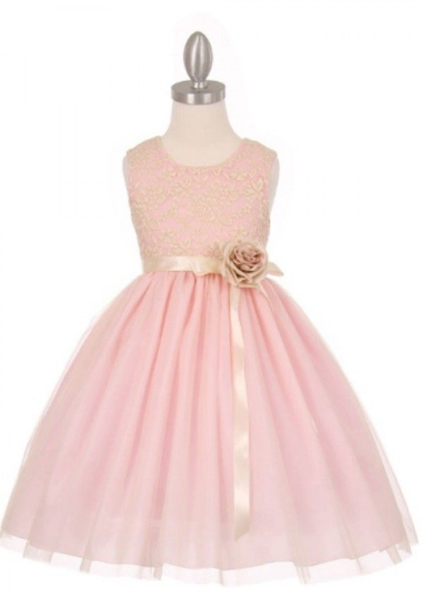 Pink 3D Stretch Lace with Tull Flower Girl Dress