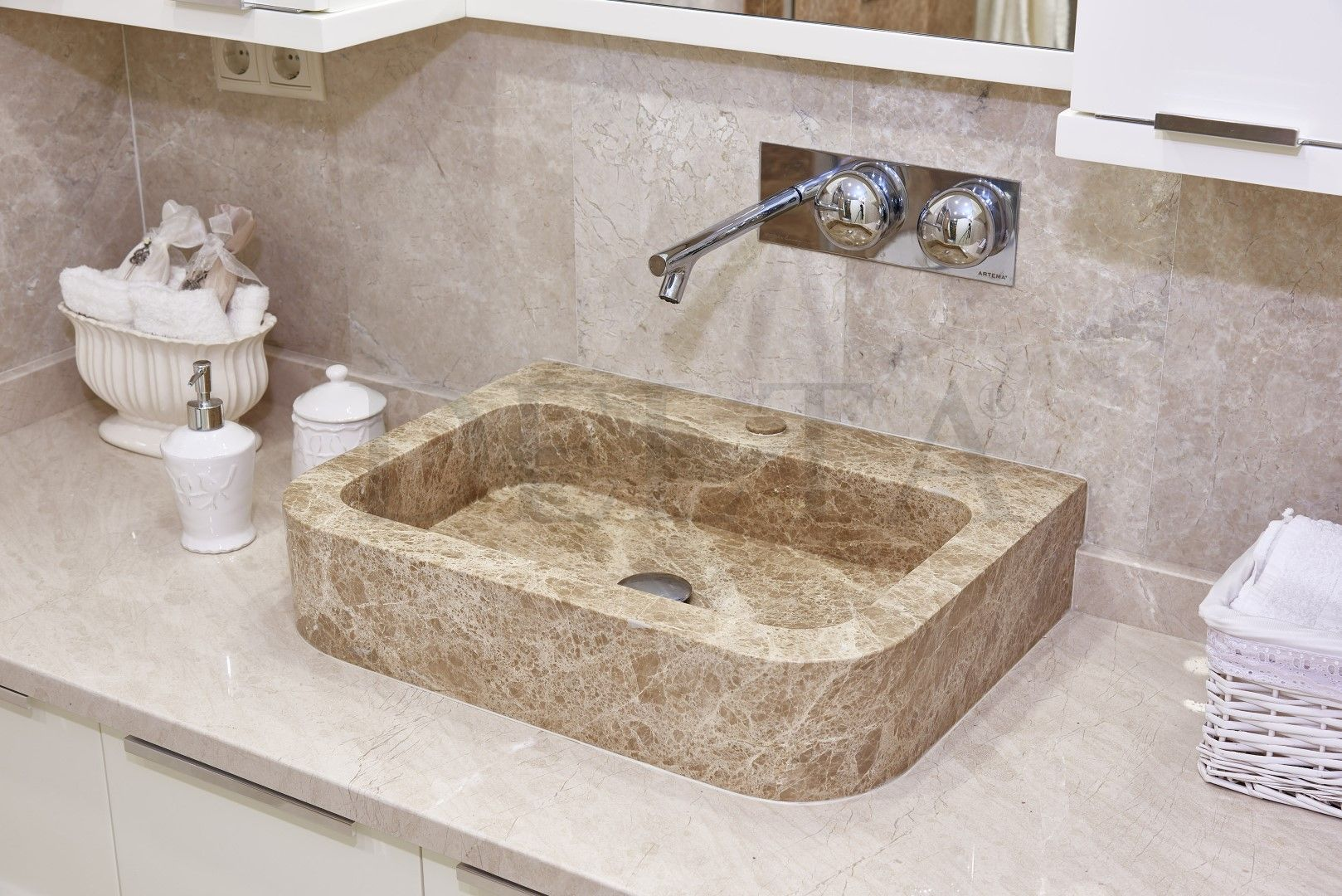 Cream Brown Color Bathroom Design Beige Marble Vanity Top