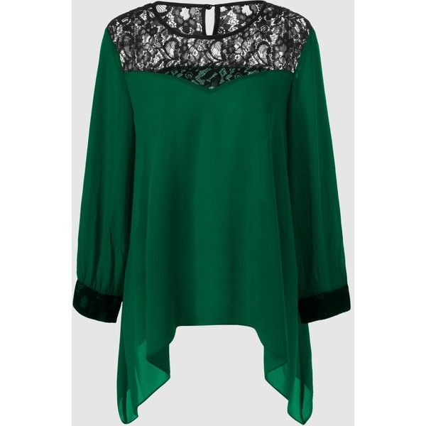 Plus Size Lace Splicing Asymmetrical Blouse (14 CAD) ❤ liked on Polyvore featuring tops, blouses, green top, asymmetric blouse, lacy blouses, lacy tops and lace top