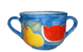 Breakfast cup w/Handles W/plate D.Cm.16 | Pottery Nino Parrucca Palermo Sicily | Quality art and recognized in the world