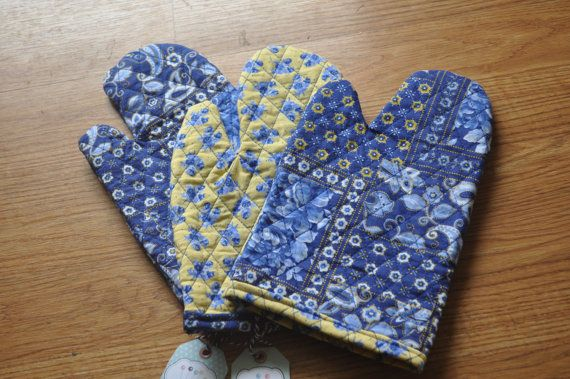 Blue or Yellow potholder. Quilted pot holder Ready by CraftyMom75, $2.00