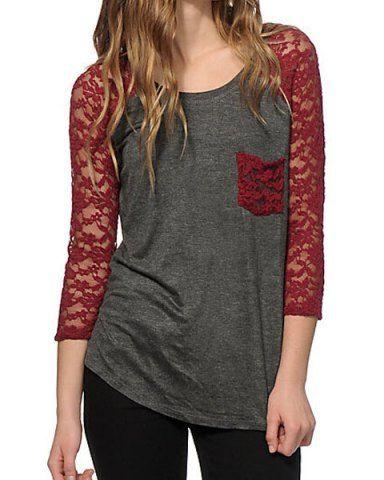 e3bce5e6cfa Fashionable Lace Splicing 3 4 Sleeve Slimming T-Shirt For Women ...