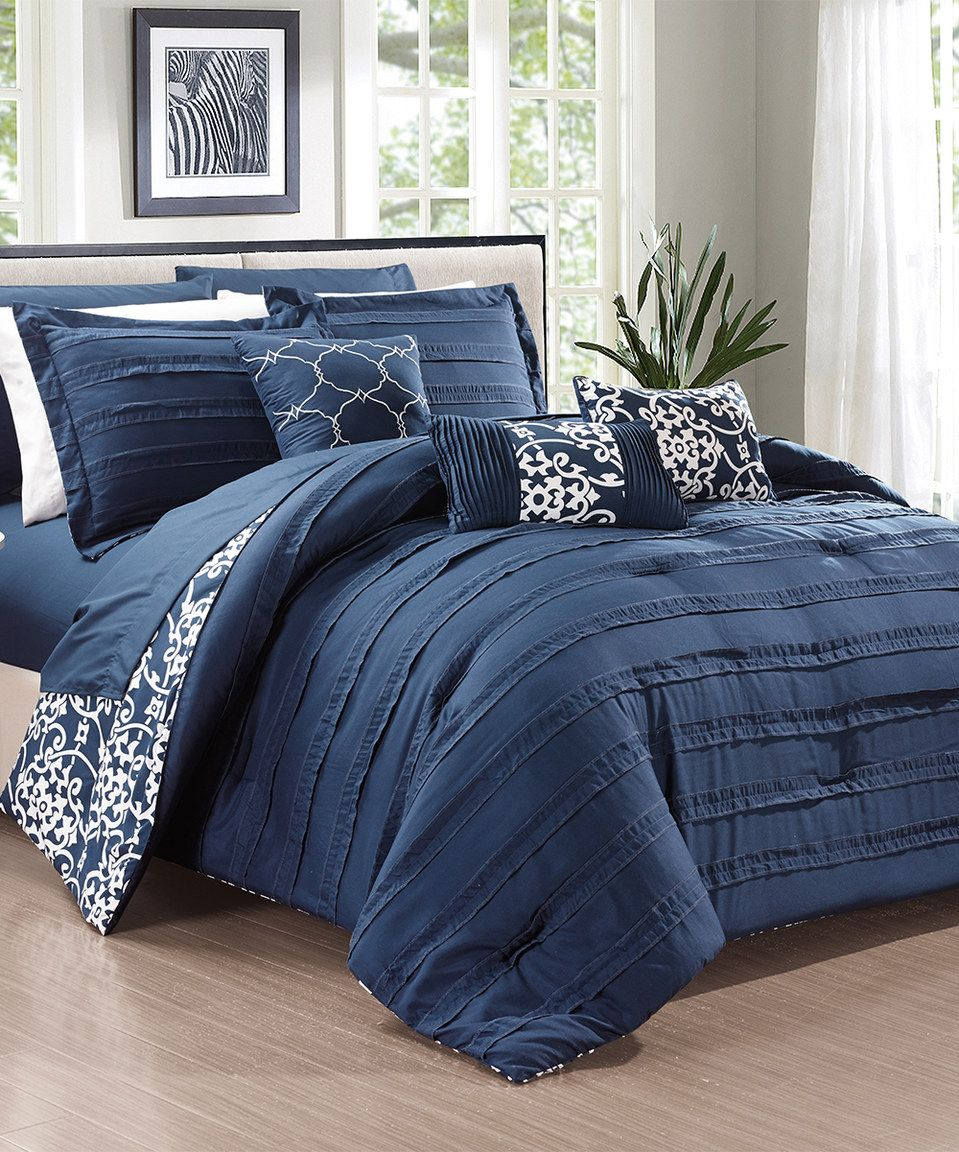Navy Quinn Comforter Set By Chic Home Design # Part 60