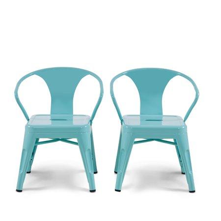 Mainstays Graham Kids Metal Industrial Chair Set Of 2 Multiple Colors Walmart Com Industrial Chair Chair Set Metal Chairs