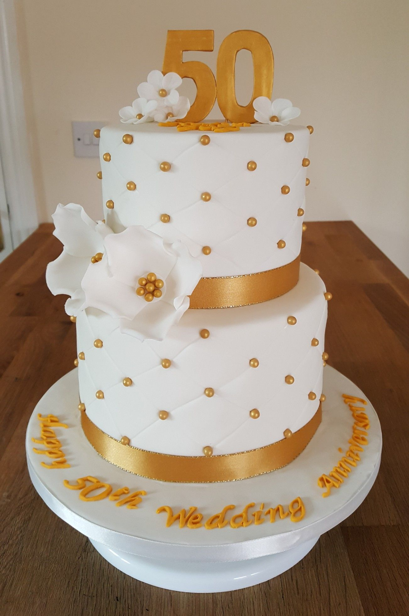 50th Golden Wedding Anniversary Cake | Alwynne\'s Homemade Cakes ...