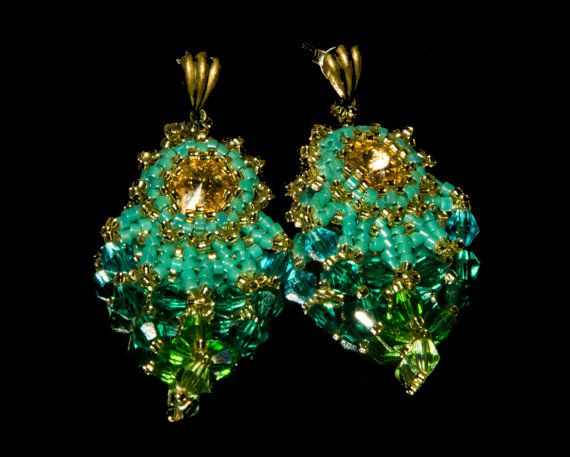 Tutorial PDF Lorien leaves earring Beading di 0Vesta0jewelry0