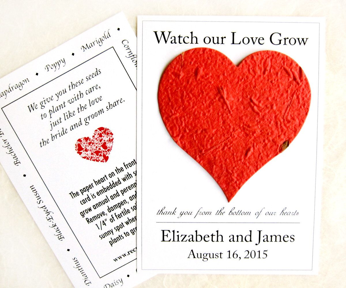 100 Watch Our Love Grow Seed Wedding Favors - Flower Seed Paper ...