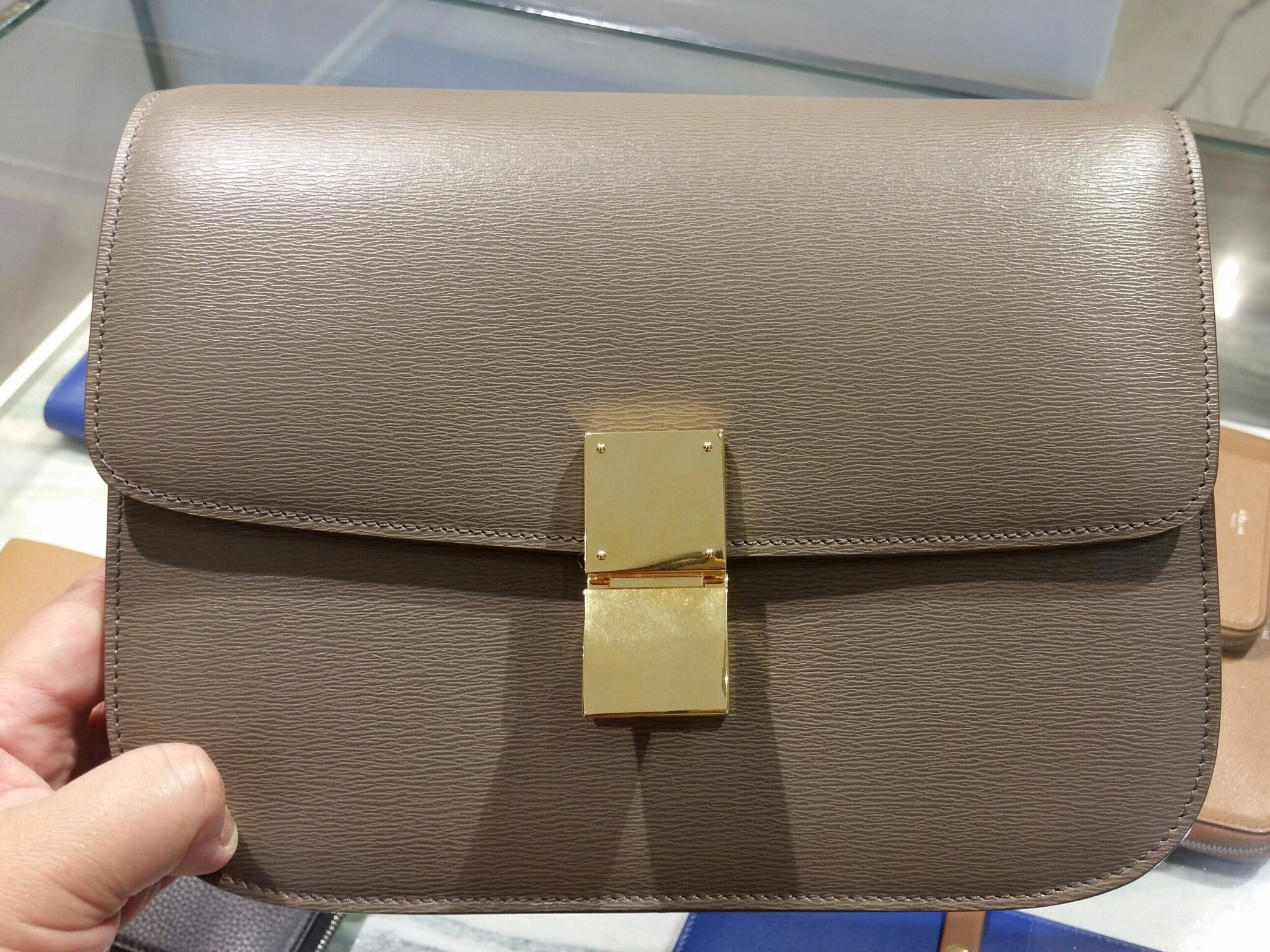 14aeb09f198b Celine box bag calf skin taupe colour