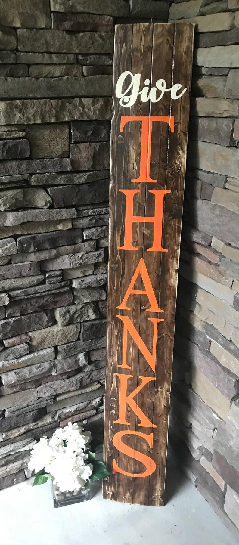 Fall Welcome Sign Give Thanks Wooden Sign Fall Porch Sign Etsy Porch Signs Front Porch Signs Fall Decorations Porch