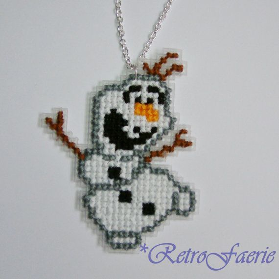 Large Olaf Cross Stitch Necklace by RetroFaerie on Etsy, £7.00