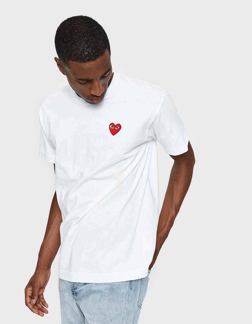 Comme Des Garçons Play Play Red Heart Tee In White Comme Des Garcons Play Heart Tee Mens Tees