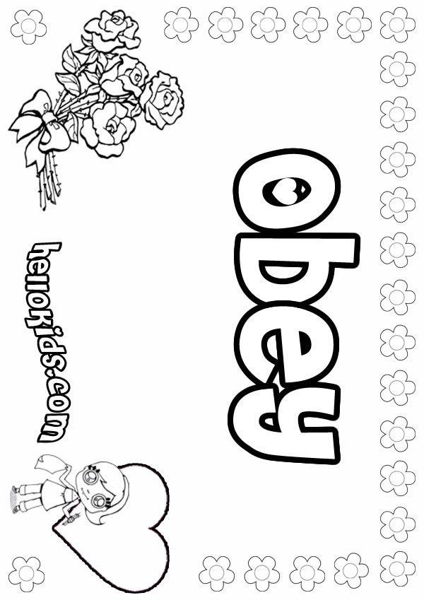 Coloring Sheet On Obedience Fo Girls Posters Girls Name