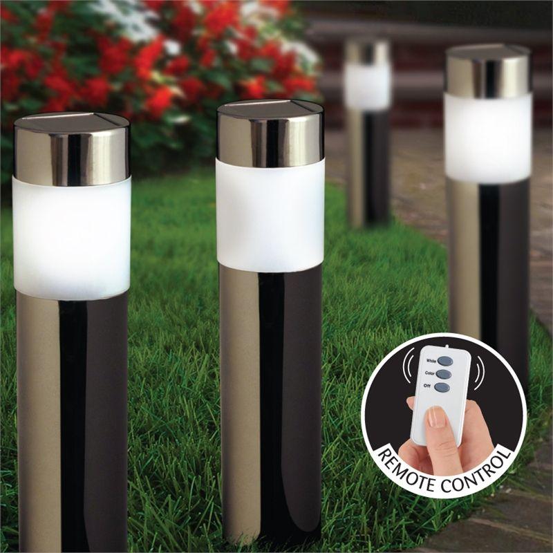 Solar Bollard Lights Outdoor Part - 21: Lytworx Solar Bollard Light Nickel Finish Dual Colour LED With Remote - 4  Pack I/