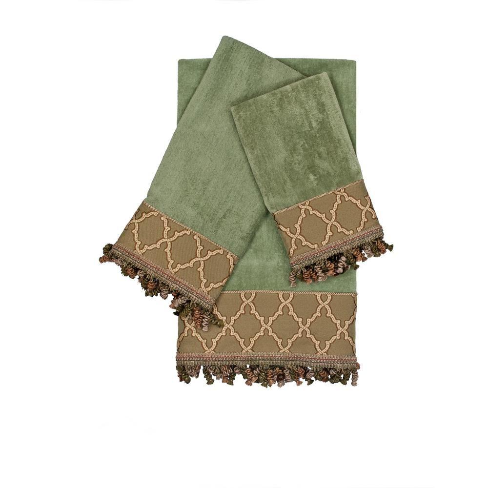 Austin Horn Collection Somerset 3 Piece Sage Geometric Bath Towel