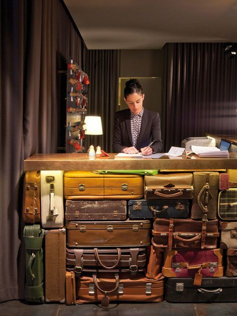 Desk made of suitcases.
