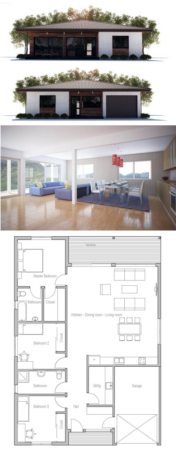 3 bedroom, 2 bathroom floor plan.. Gorgeous
